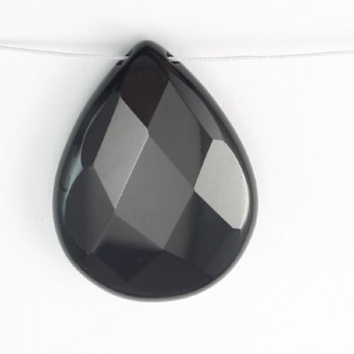 Pendantif Agate Noir Goutte 25*35mm