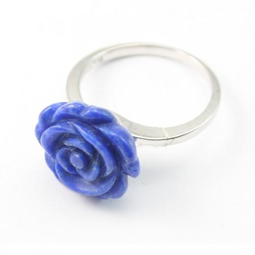 Bague argent 925 lapis-lazuli fleur x 1pc