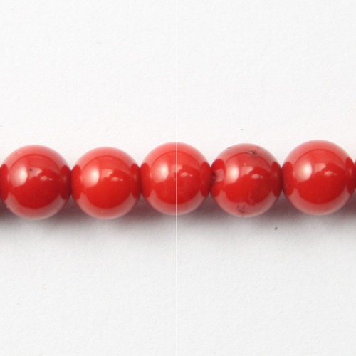 Bambou mer teinte rouge Rond 10.5mm X 4pcs