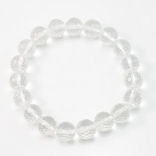 Bracelet cristal de roche ronde facette