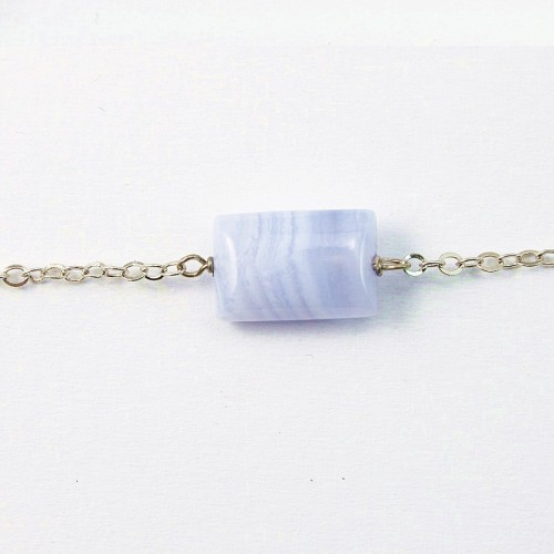 Bracelet en Argent 925 calcédoine rectangle