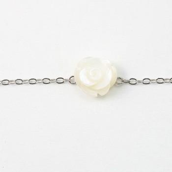 Bracelet chaîne argent 925 fleur en nacre blanc