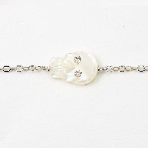 Bracelet chaine en Argent 925 en tete de mort nacre blanc