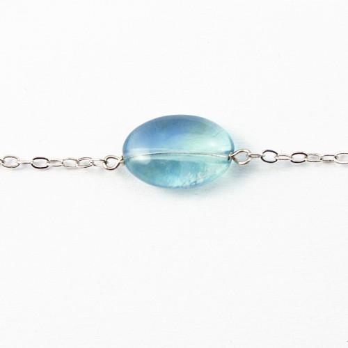 Bracelet chaîne argent 925 fluorite