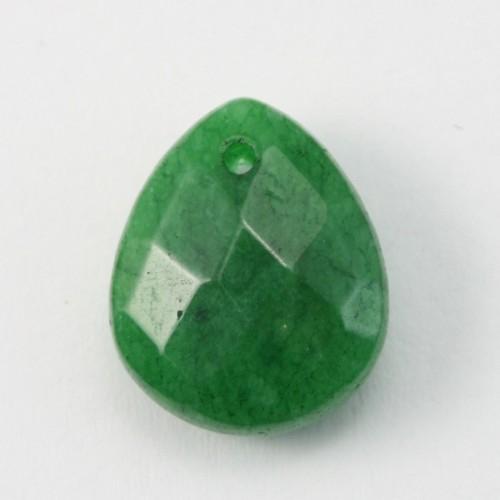 Jade teinte vert Goutte Plate facette 12*15mm X 1PC