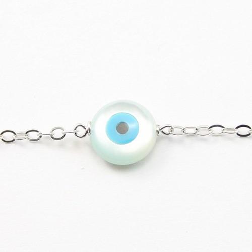 Bracelet chaîne argent 925 nacre des yeux