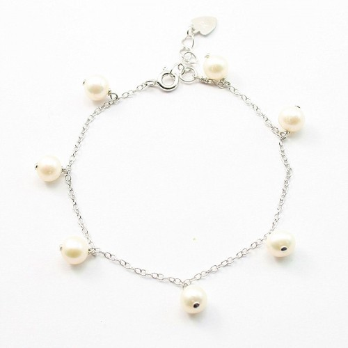 Bracelet chaîne argent 925 perle d'eau douce
