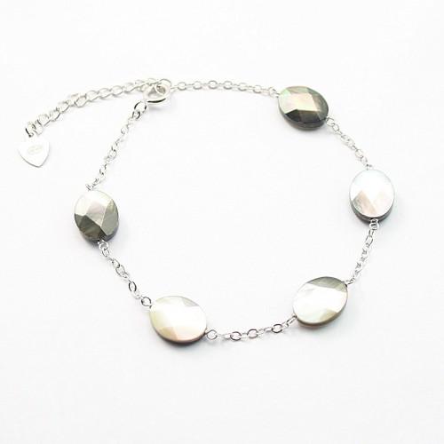 Bracelet chaîne argent 925 nacre grise