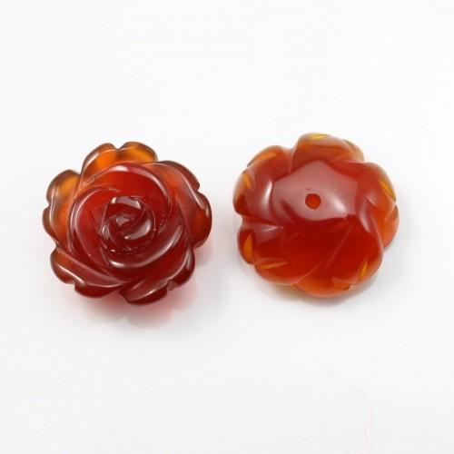 Cabochon cornaline fleur semi-percés 15mm x 1pc