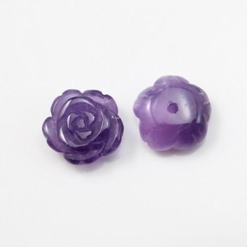 Cabochon amethyste fleur 12mm x 1pc