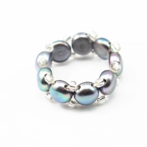 Bague élastique en perle d'eau douce gris foncé x 1pc