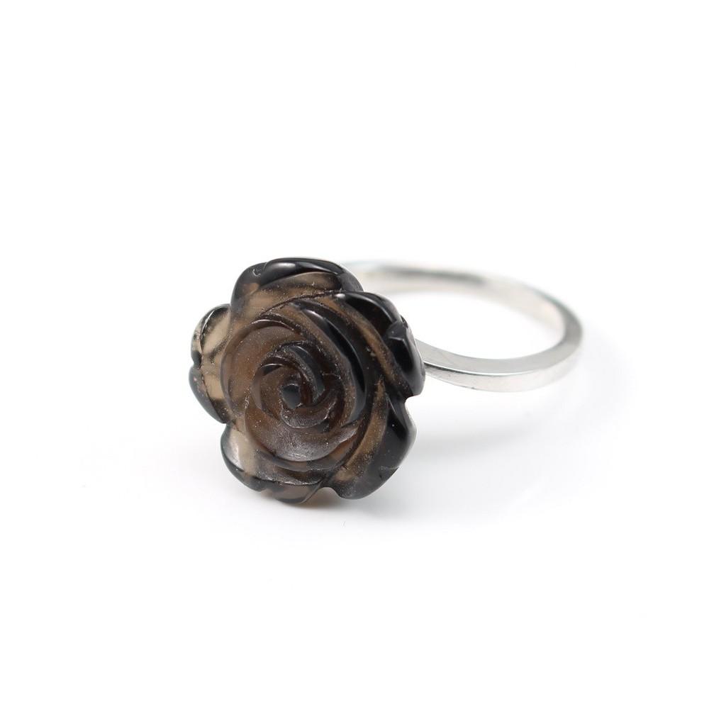 bague argent 925 quartz fum fleur pas cher. Black Bedroom Furniture Sets. Home Design Ideas