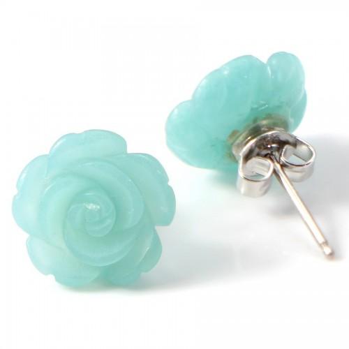 Boucle d'oreille argent 925 amazonite en fleur 12mm X 2 pcs