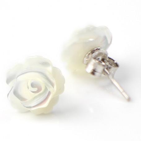 boucle d 39 oreille argent 925 nacre fleur achat vente pas cher. Black Bedroom Furniture Sets. Home Design Ideas