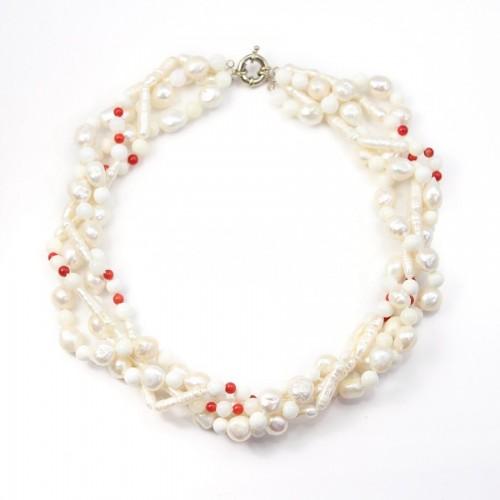 collier dégradé 4 rangs perle baroque & benitier &bamboo de mer
