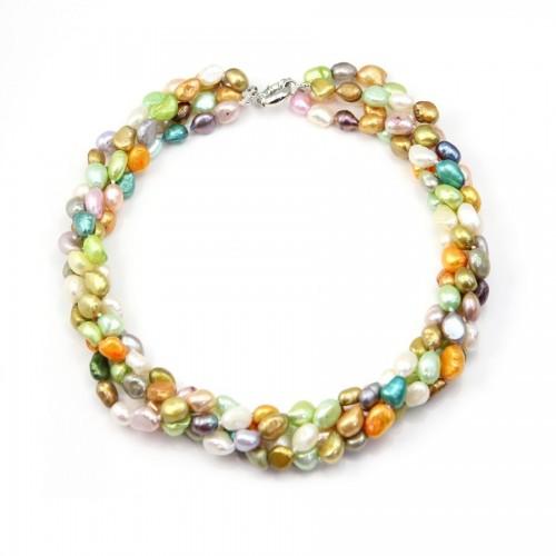 Collier Torsade Perle D'eau Douce Multicolore 4 rangs