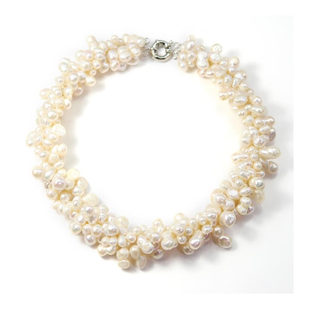 Collier torsade perle d 39 eau douce blancrang pas cher - Comment faire un collier en perle ...