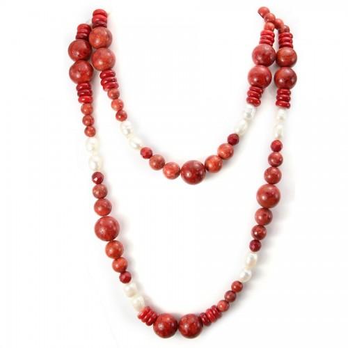 Sautoir perle orail eponse &perle d'eau douce X 100cm
