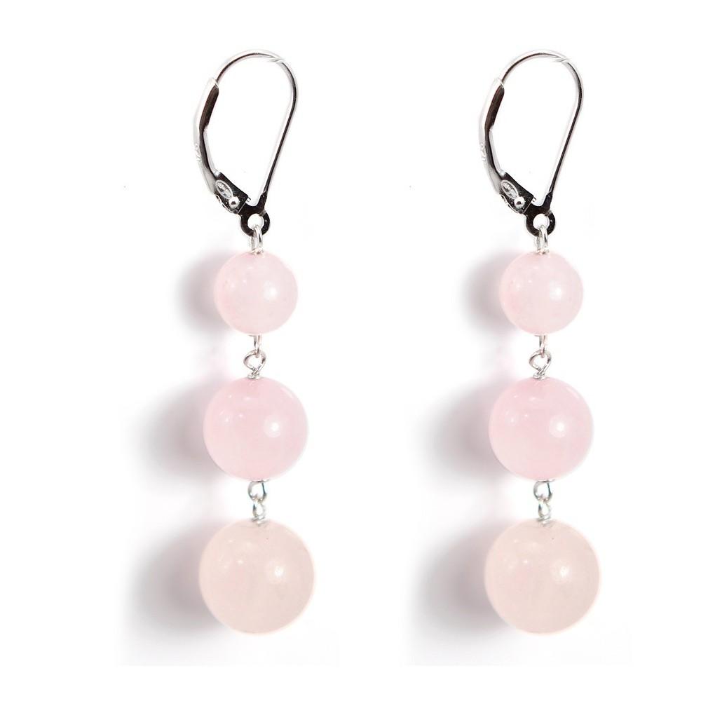 Boucle d 39 oreille argent 925 quartez rose achat vente - Porte boucle d oreille pas cher ...