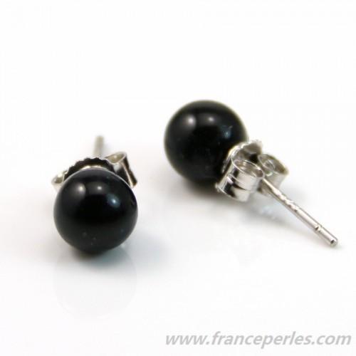 Boucle d'oreille argent 925 agate noir 6mm x 2pcs