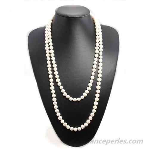 Sautoir perle d'eau douce blanche 140cm