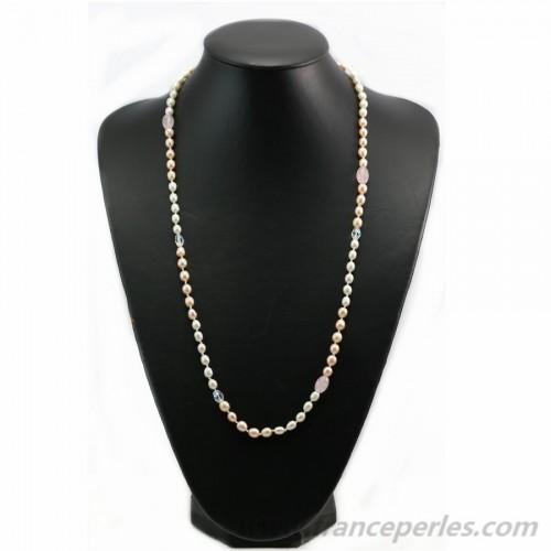 Sautoir perles d'eau douce et quartz rose 100cm