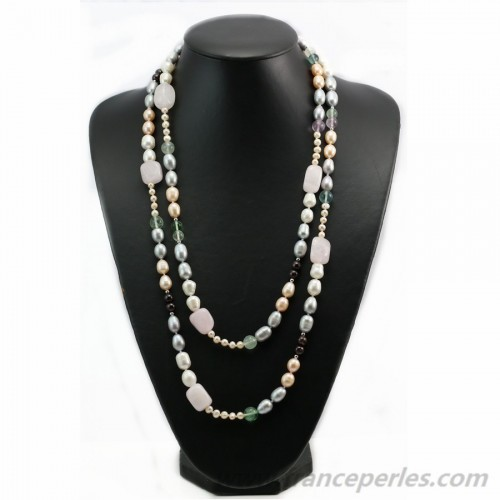 Rose quartz and fluorite and freshwater pearl necklace 140cm