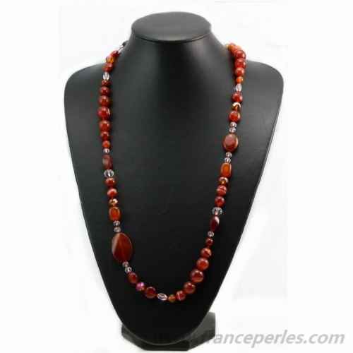 Agate and freshwater pearls nacklace 100cm
