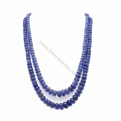 Necklace tanzanite degraded faceted rondelle double strands