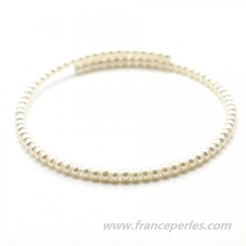 Collier ras du cou perles d'eau douce blanche