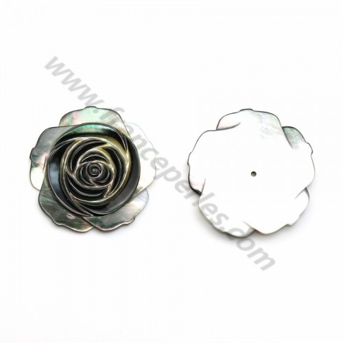 Gray mother-of-pearl half drilled rose 30mm x 1pc
