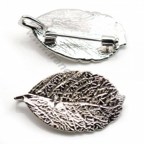 Pendentif et broche en argent 925 rhodié feuille our perle semi-percée x 1pc
