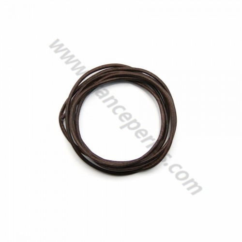 Leather cord rounded cowhide brown 1.3mmx 1m