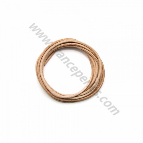 Leather cord rounded cowhide natural 1.3mmx 1m