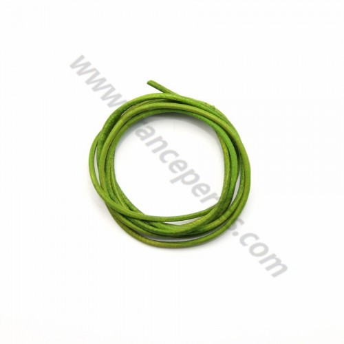Leather cord rounded cowhide apple green 1.3mmx 1m