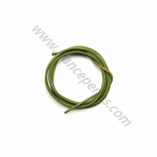 Leather cord rounded cowhide olive 1.3mmx 1m