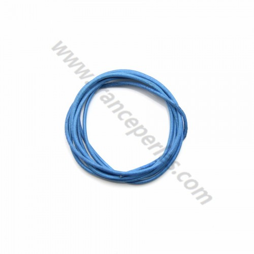 Leather cord rounded cowhide blue 1.3mmx 1m