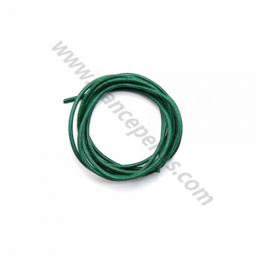 Leather cord rounded cowhide green 1.3mmx 1m