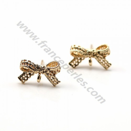 "Ear stud knot of butterfly veneer by ""flash"" Gold on brass 8x14mm x 4pcs"