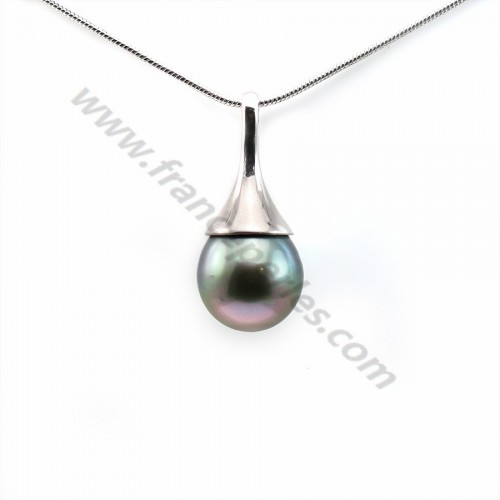 Pendentif Perles Tahiti bélière Argent 925 9.5x21.4mm x 1pc