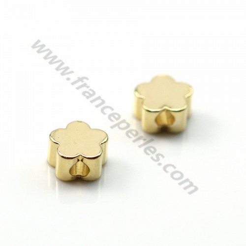 "Intercalaire fleur plaquée par ""flash"" or sur laiton2.5*5mm x 10pcs"