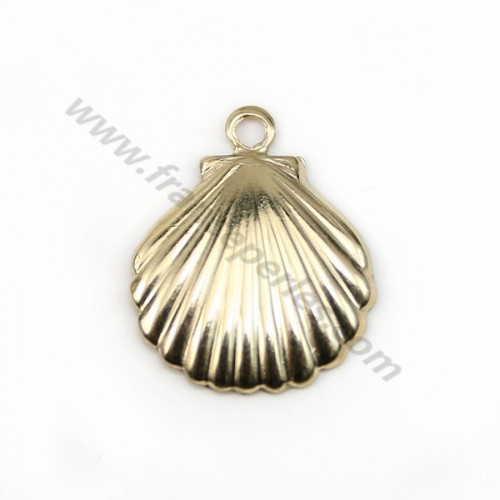Breloque coquillage 11x11mm gold filled 14 carat x 2pcs