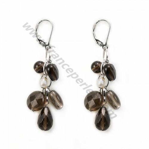 Boucle d'oreille quartz fumé &perles dormeuse X 2pcs