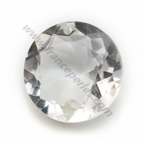 Pendentif cristal de roche rond facette 15mm x 1pc