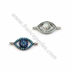 Intercalaire oeil en argent 925 turquoise reconstitué & zirconium 8*18mm x 1pc