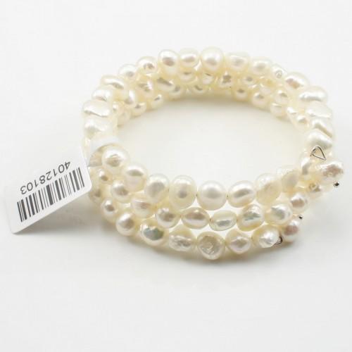 Bracelet 3 Rangs Perle D'eau Douce Blanc