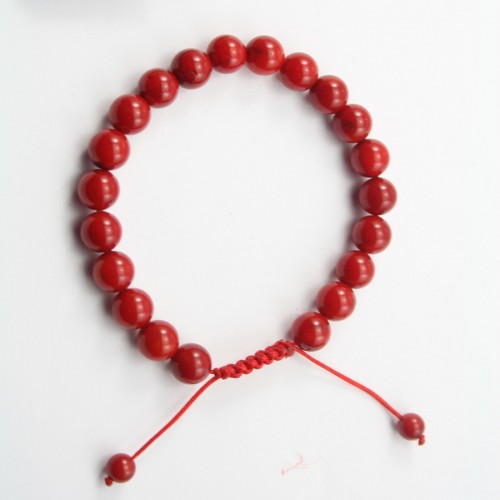 Bracelet Bamboo de mer teinte rouge boule rond 8mm